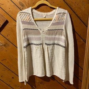 Altar'd State cream criss cross knit sweater M